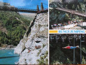 NZ クイーンズタウン カワラウ橋でのバンジージャンプ;絵はがき